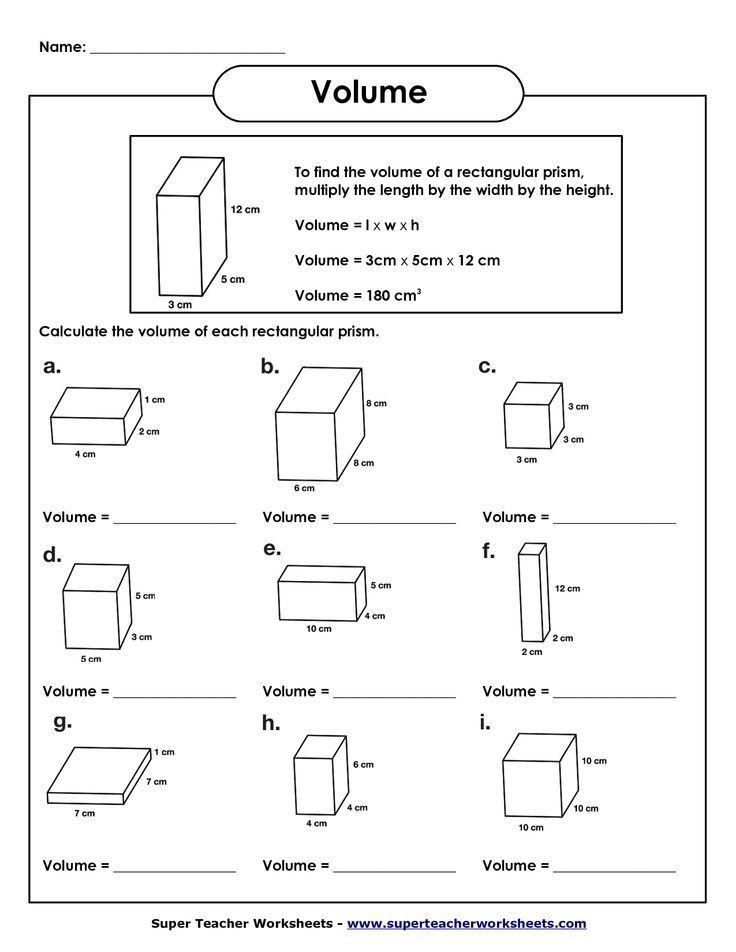 3rd Grade Volume Worksheets Volume Of Rectangular Prism Worksheet