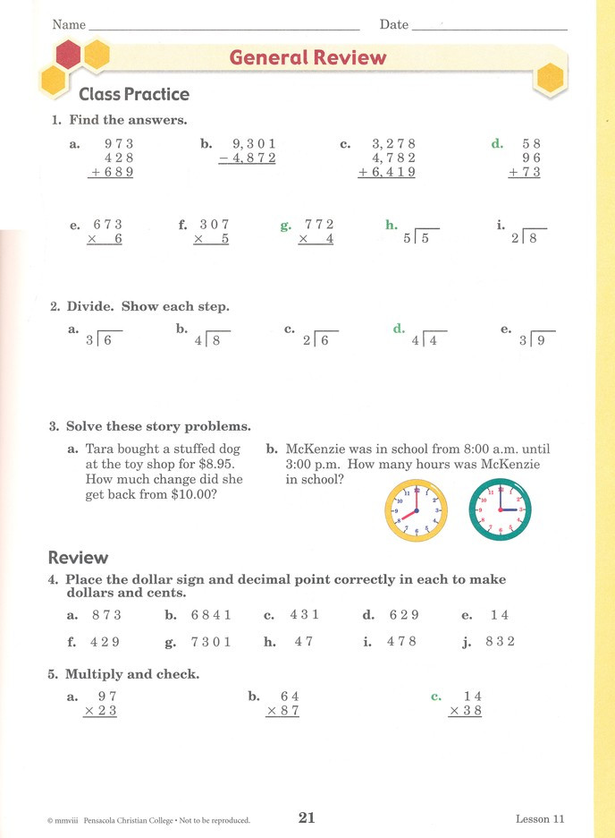 4th Grade Abeka Math Worksheets Abeka Arithmetic 4 Work Text Fourth Edition