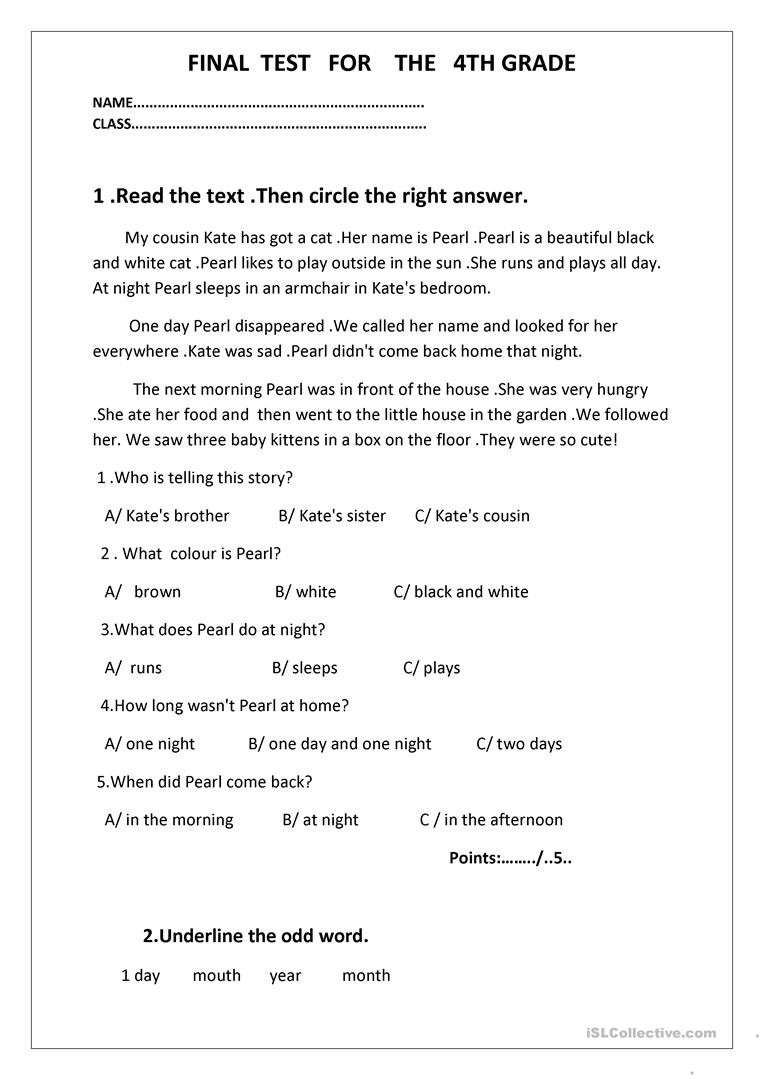 4th Grade English Worksheets Final Test for the 4th Grade English Esl Worksheets for