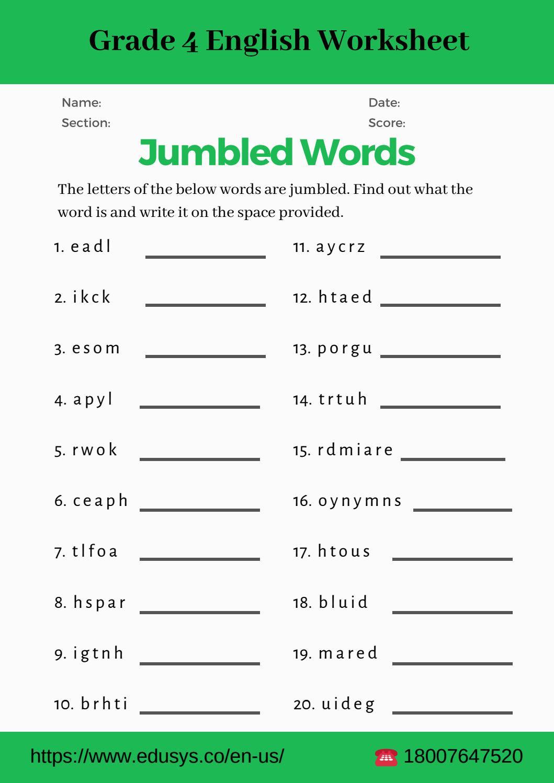 4th Grade Grammar Worksheets 4th Grade English Vocabulary Worksheet Pdf by Nithya issuu