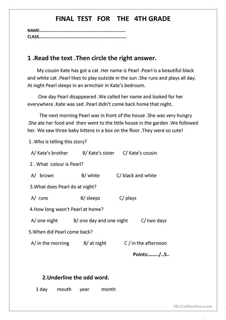 4th Grade Grammar Worksheets Final Test for the 4th Grade English Esl Worksheets for