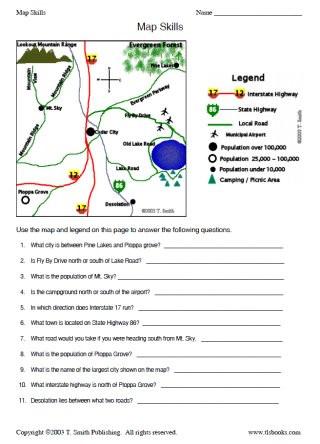 4th Grade Map Skills Worksheets Map Skills Worksheet 2