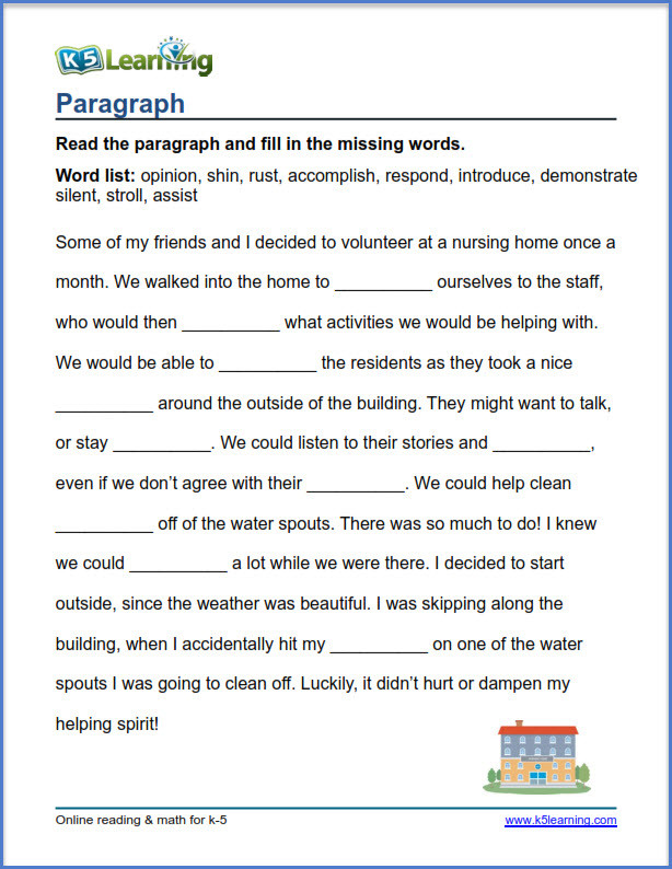 4th Grade Paragraph Writing Worksheets Grade 4 Vocabulary Worksheets – Printable and organized by