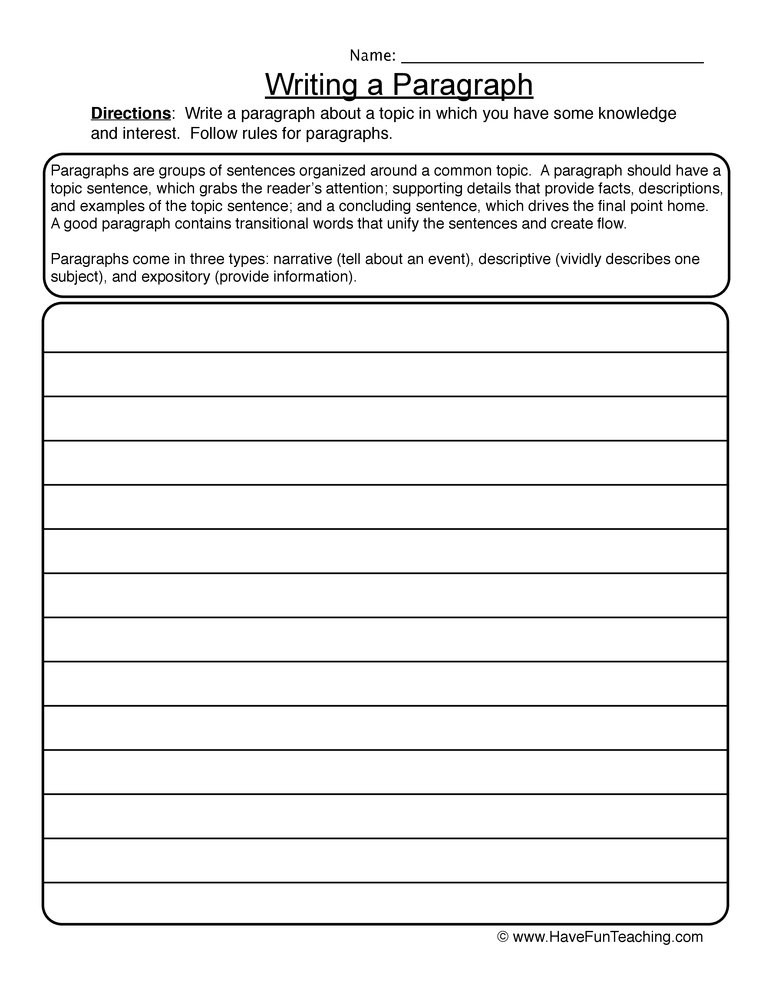 4th Grade Paragraph Writing Worksheets organizing Writing Paragraphs Worksheet