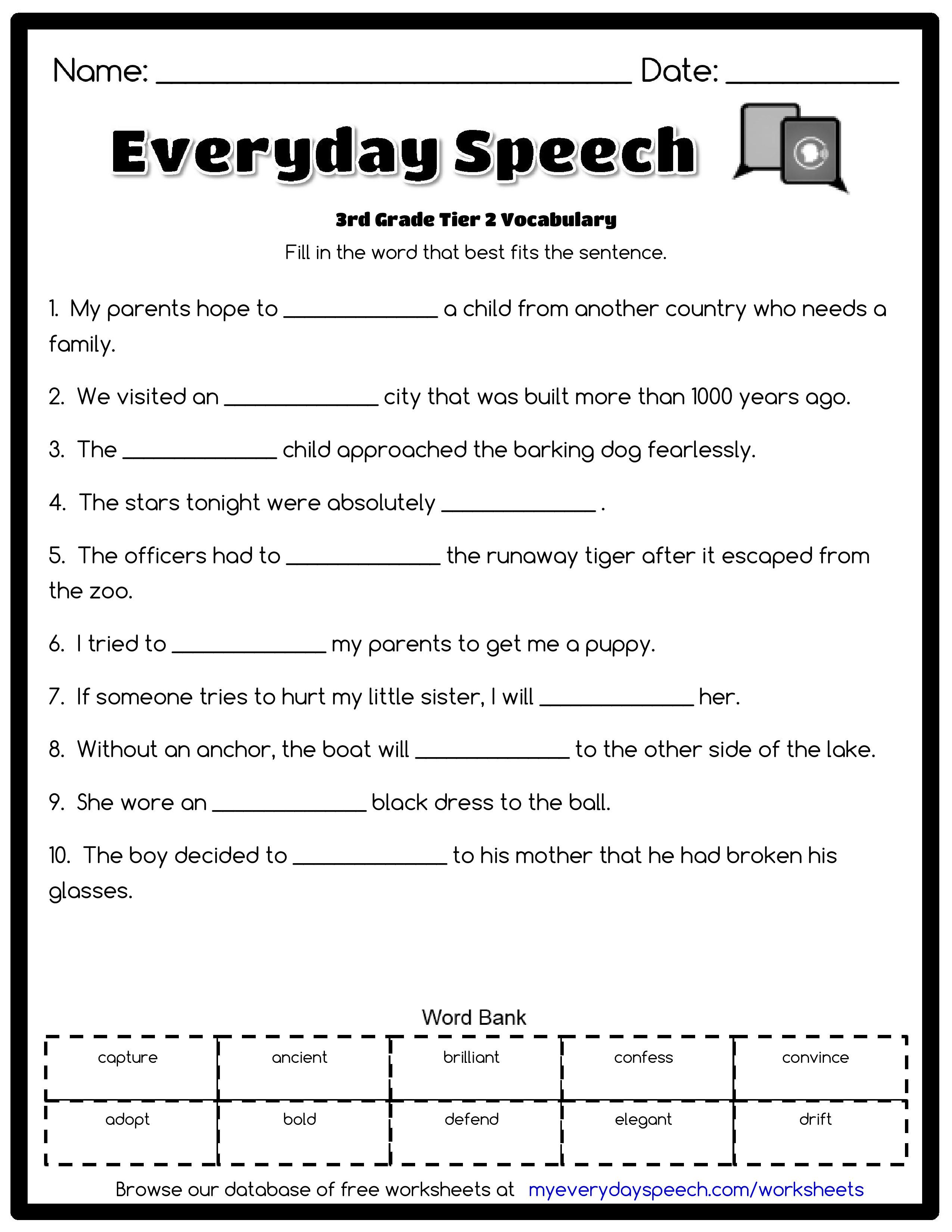 4th Grade Vocabulary Worksheets 3rd Grade Vocabulary Worksheets for Download 3rd Grade