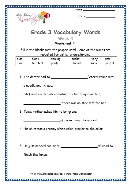 4th Grade Vocabulary Worksheets Grade 3 Vocabulary Worksheets Week 4 Lets Knowledge
