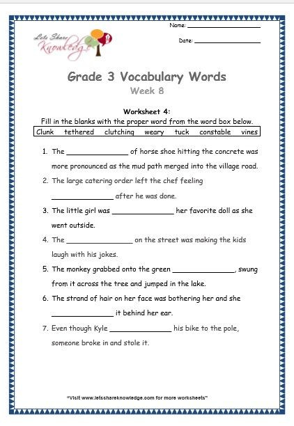 4th Grade Vocabulary Worksheets Grade 3 Vocabulary Worksheets Week 8