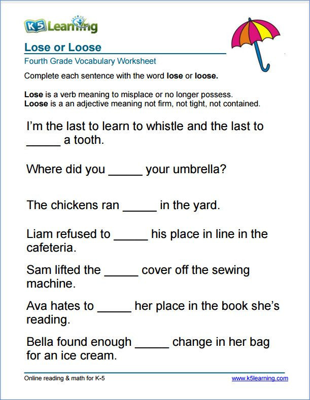 4th Grade Vocabulary Worksheets Grade 4 Lose or Loose Vocabulary Worksheet