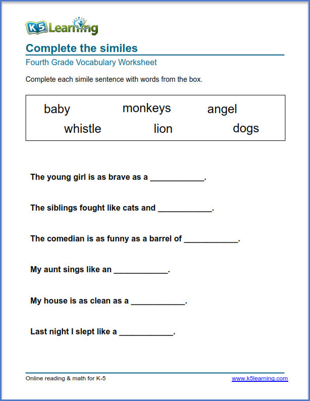 4th Grade Vocabulary Worksheets Grade 4 Vocabulary Worksheets – Printable and organized by