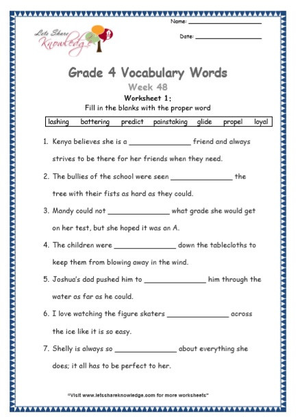 4th Grade Vocabulary Worksheets Grade 4 Vocabulary Worksheets Week 48 Lets Knowledge
