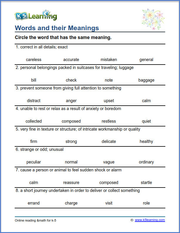 4th Grade Vocabulary Worksheets Grade Vocabulary Worksheets Printable and organized by