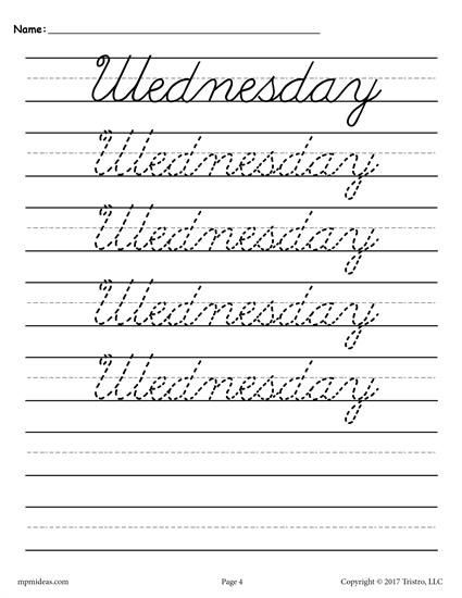 4th Grade Writing Worksheets Days the Week Cursive Handwriting Worksheets Writing for