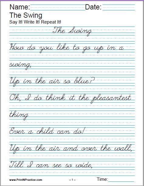 4th Grade Writing Worksheets Printable Handwriting Worksheets ⭐ Manuscript and Cursive