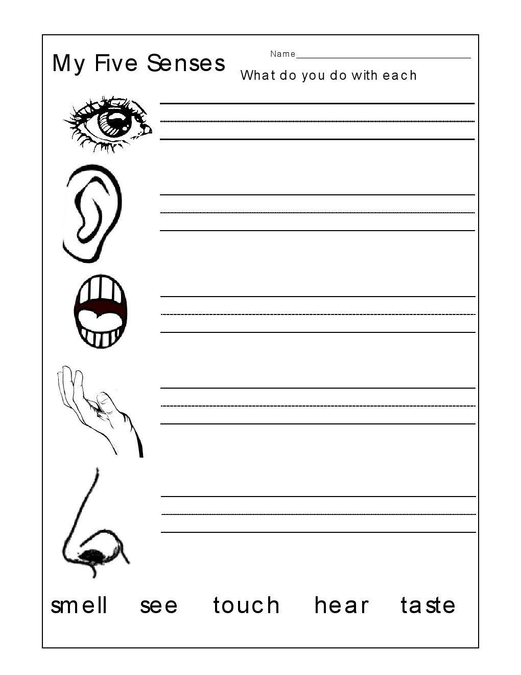 5 Senses Worksheet Preschool Kindergarten Worksheets Kindergarten Worksheets the 5