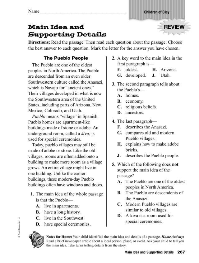 5th Grade Main Idea Worksheet Main Idea and Supporting Details Worksheet for 3rd 5th