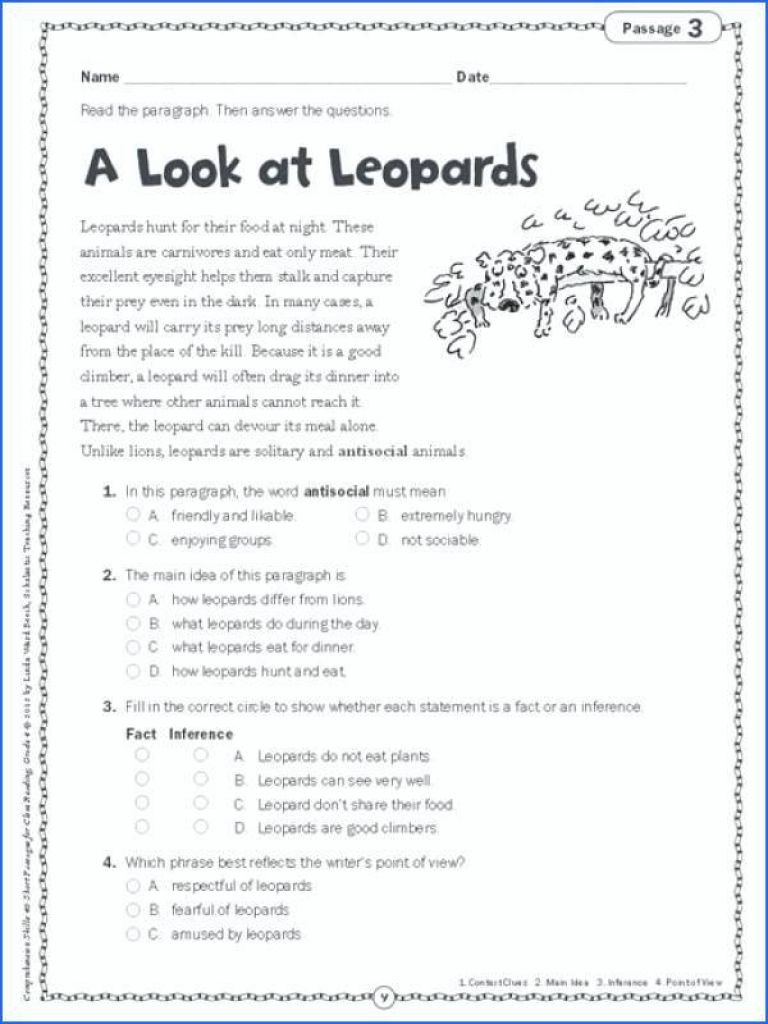 5th Grade Main Idea Worksheet Main Idea Worksheets 5th Grade for Printable Math On