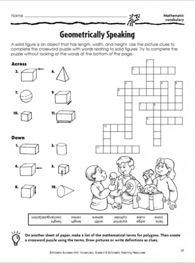 6th Grade Math Crossword Puzzles 20 Easy and Interactive Math Crossword Puzzles