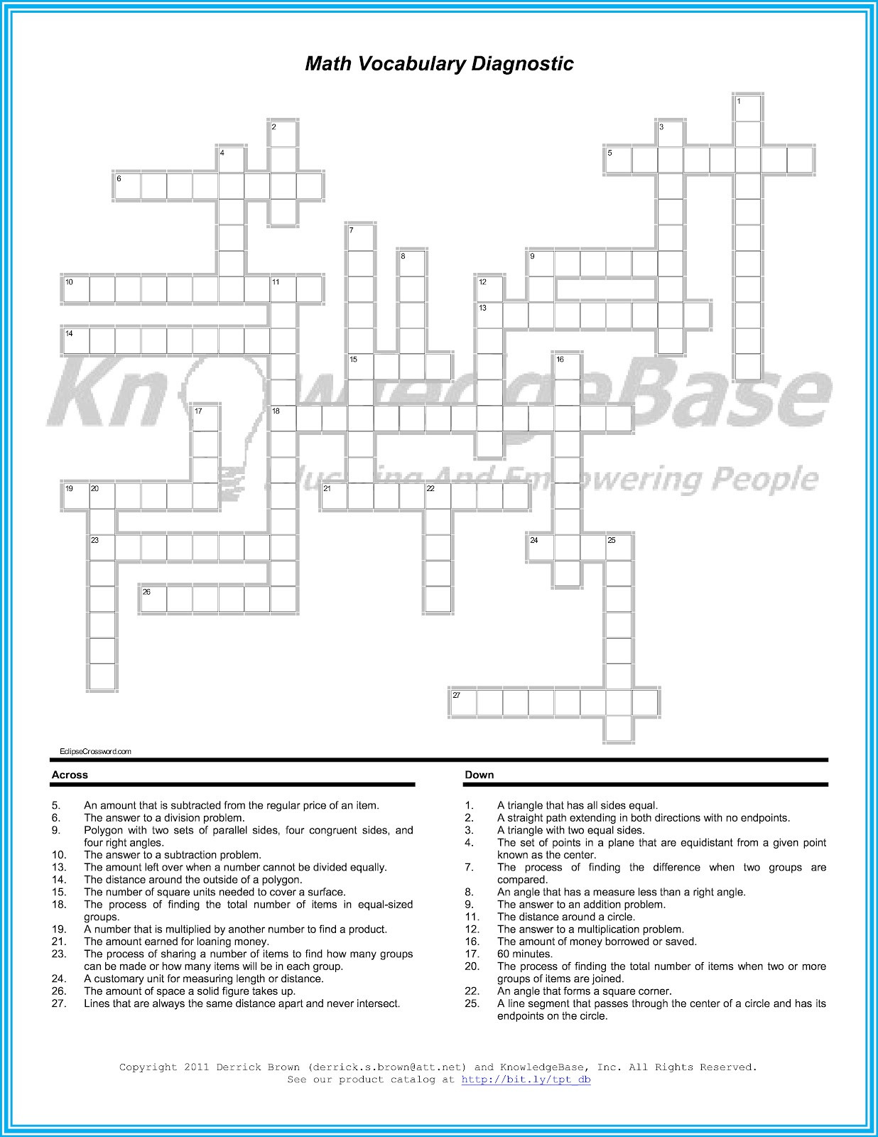 6th Grade Math Crossword Puzzles 35 Term In Arithmetic Crossword Arithmetic In Crossword