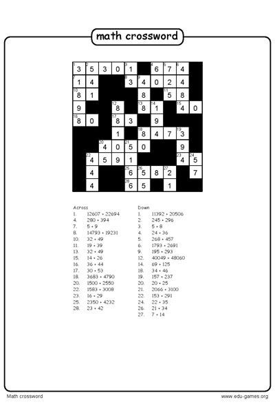 6th Grade Math Crossword Puzzles Create A Math Crossword Puzzle and the Free