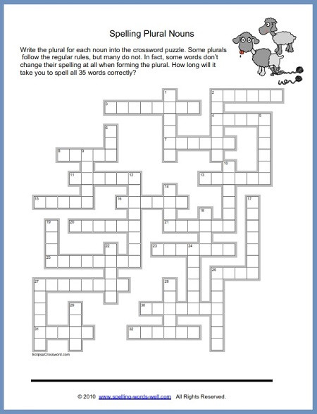6th Grade Math Crossword Puzzles Fun Spelling Puzzles Worksheets Puizzles Plurals Pin