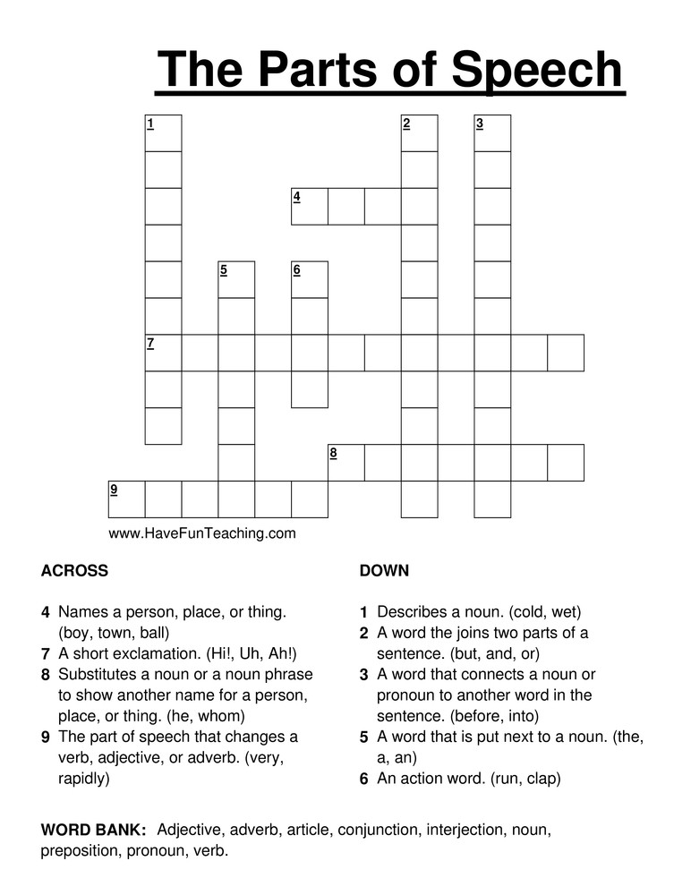 6th Grade Math Crossword Puzzles Parts Of Speech Crossword Puzzle