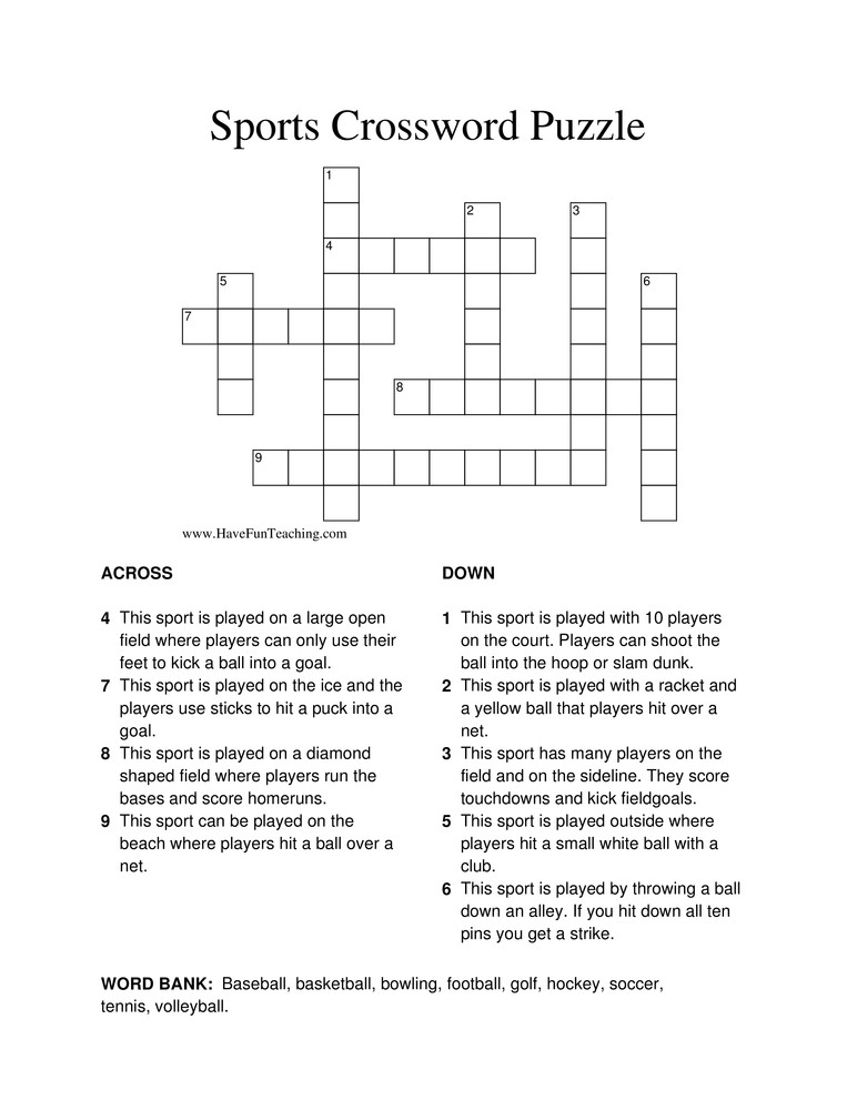 6th Grade Math Crossword Puzzles Sports Crossword Puzzle