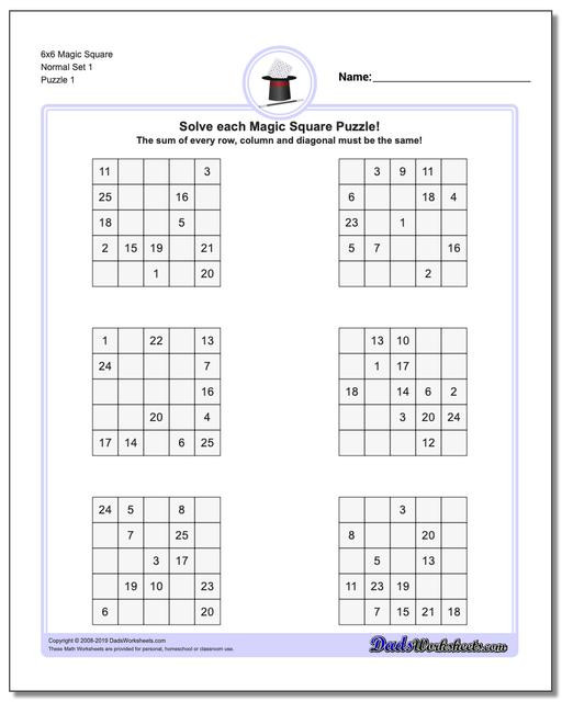 6th Grade Math Puzzle Worksheets Magic Square Puzzles
