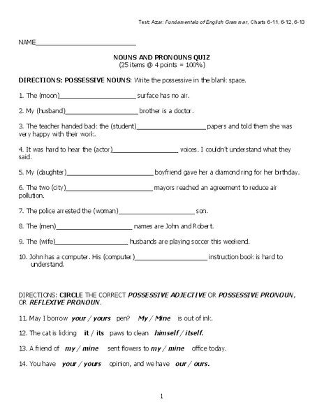 6th Grade Pronoun Worksheets Nouns and Pronouns Quiz Worksheet for 6th 9th Grade