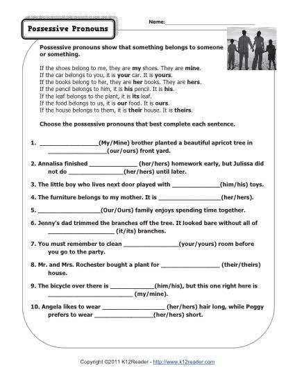 6th Grade Pronoun Worksheets Possessive Pronouns
