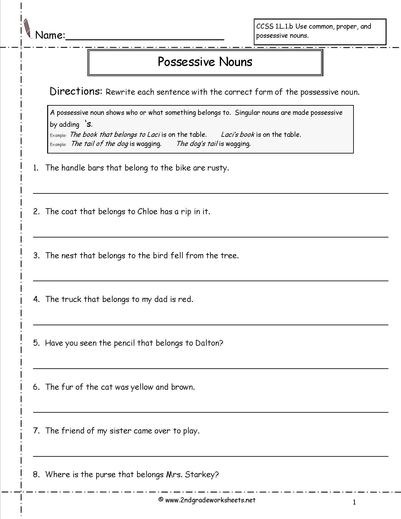 6th Grade Pronoun Worksheets Possessive Pronouns Worksheets 6th Grade
