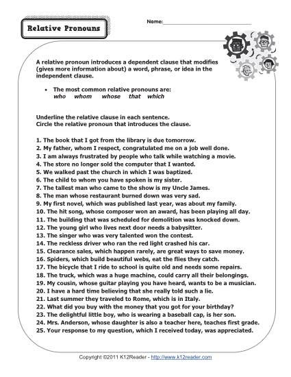 6th Grade Pronoun Worksheets Relative Pronouns