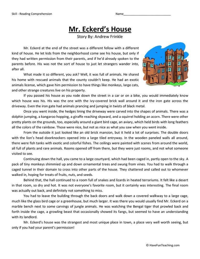 6th Grade Reading Worksheets Mr Eckerd S House Reading Prehension Worksheet