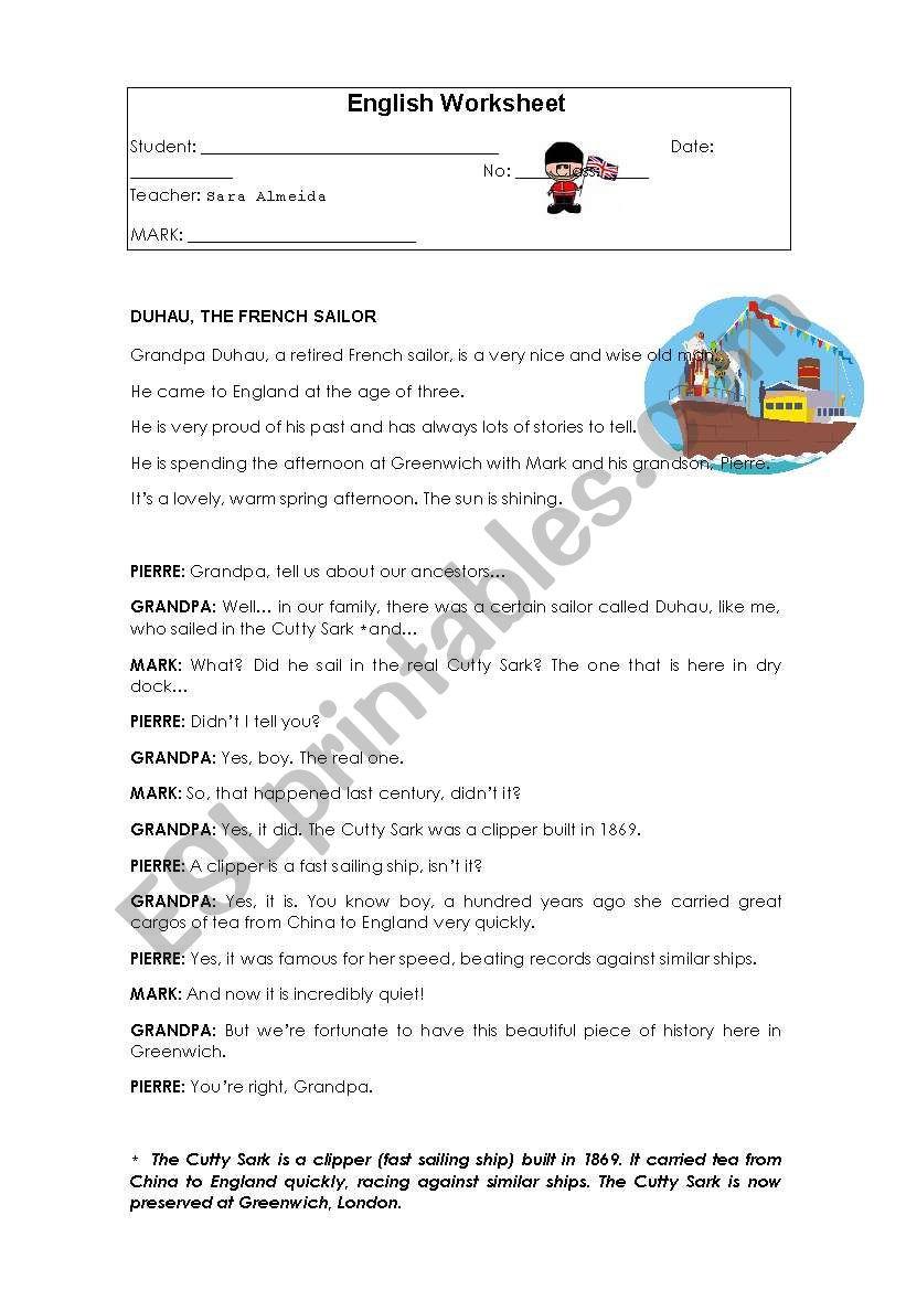 6th Grade Reading Worksheets Reading Prehension 6th Grade Esl Worksheet by Sara Almeida
