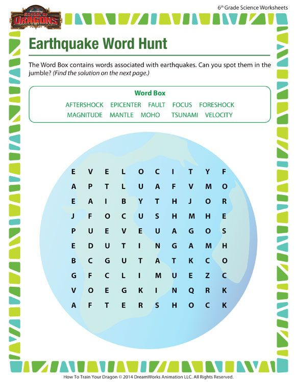 6th Grade Science Worksheets Earthquake Word Hunt Free 6th Grade Science Worksheet