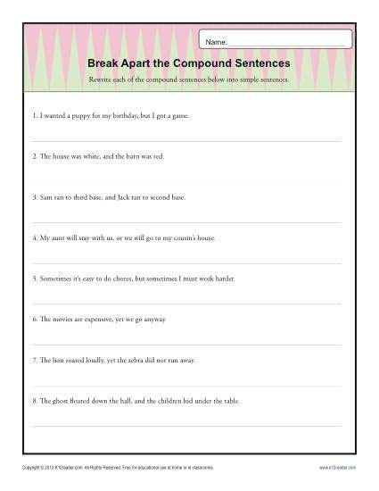 6th Grade Sentence Structure Worksheets Break Apart the Pound Sentence
