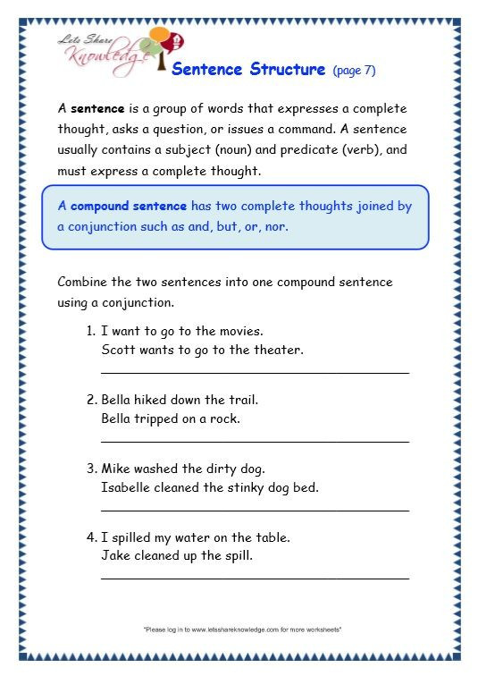 6th Grade Sentence Structure Worksheets Grade 3 Grammar topic 36 Sentence Structure Worksheets