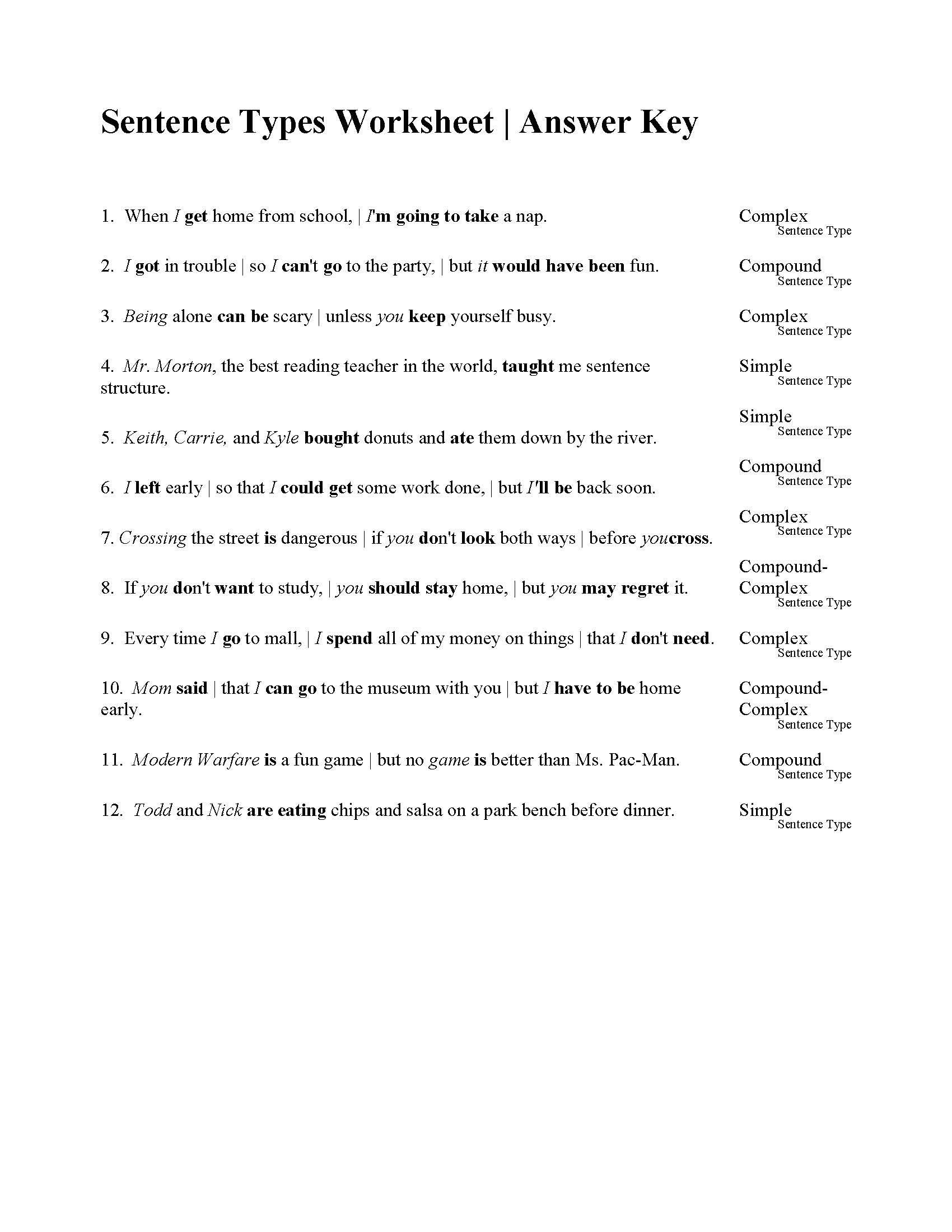6th Grade Sentence Structure Worksheets Sentences Types Worksheet
