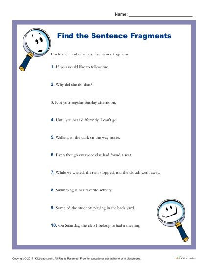 6th Grade Sentence Structure Worksheets which Of the Following is A Sentence Fragment
