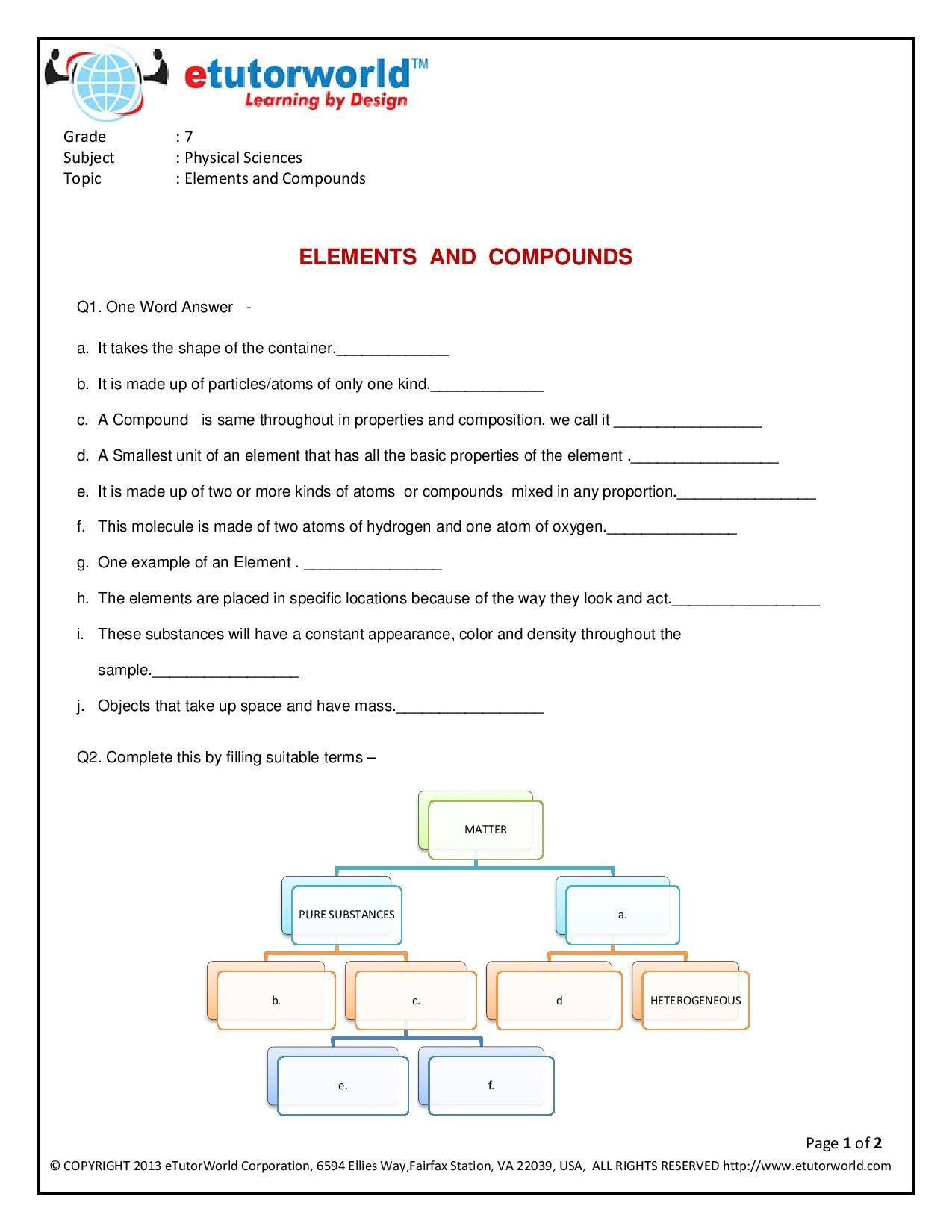 7 Grade Science Worksheets Science Worksheets for Grade 7