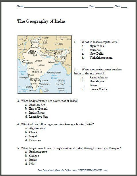 7th Grade Geography Worksheets Geography India Map Worksheet In 2020 with Images