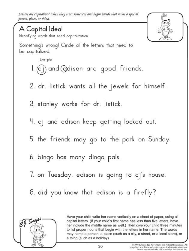 7th Grade Grammar Worksheets A Capital Idea Fun English Worksheets for Kids