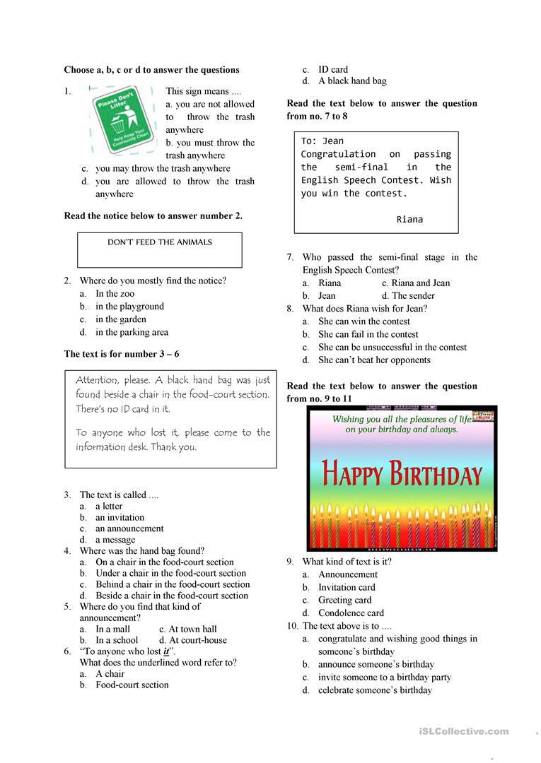 7th Grade Language Arts Worksheets English Test for Grade 7 English Esl Worksheets for