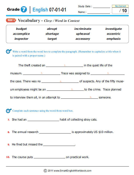 7th Grade Language Arts Worksheets Smartenglishworkbook Be Smart Study Smart the Sure Way