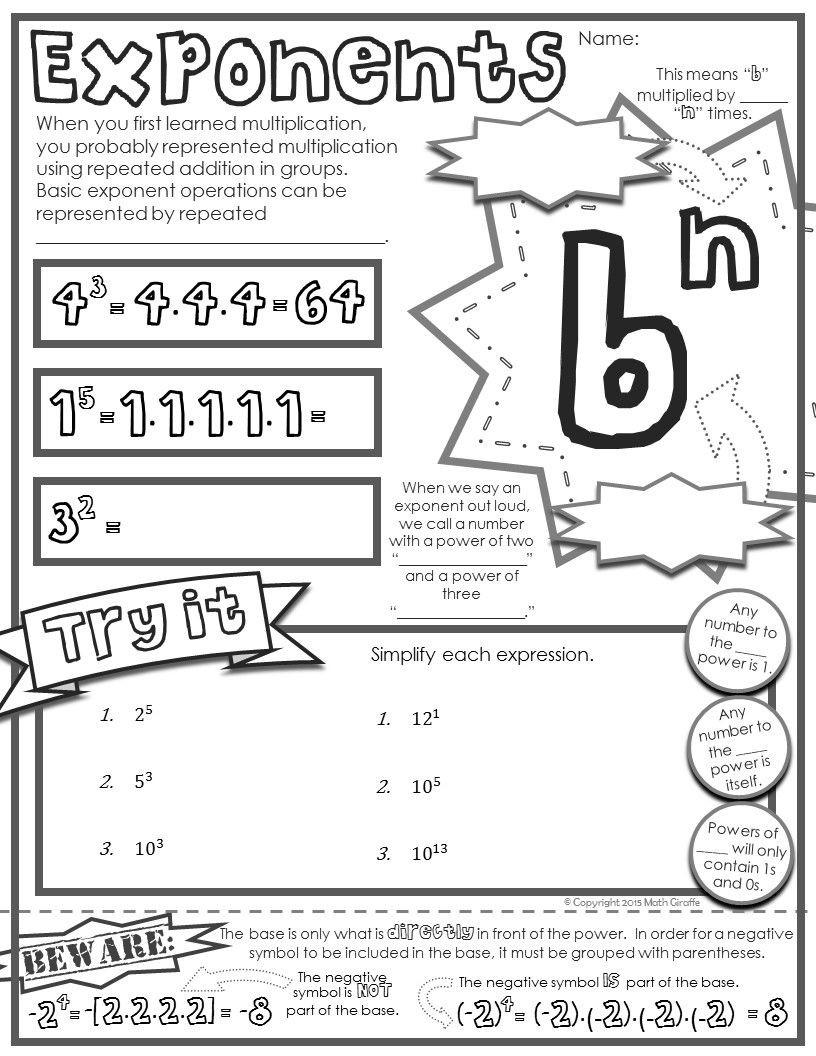 "7th Grade Math Enrichment Worksheets Free ""doodle Note"" Sheet for 5th 7th Grade Math Basics"