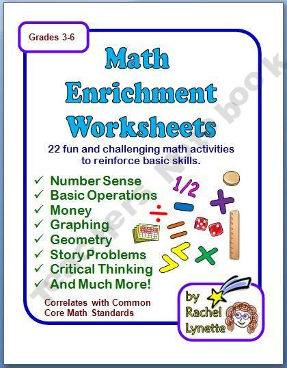 7th Grade Math Enrichment Worksheets Math Enrichment Worksheets with Answer Keys