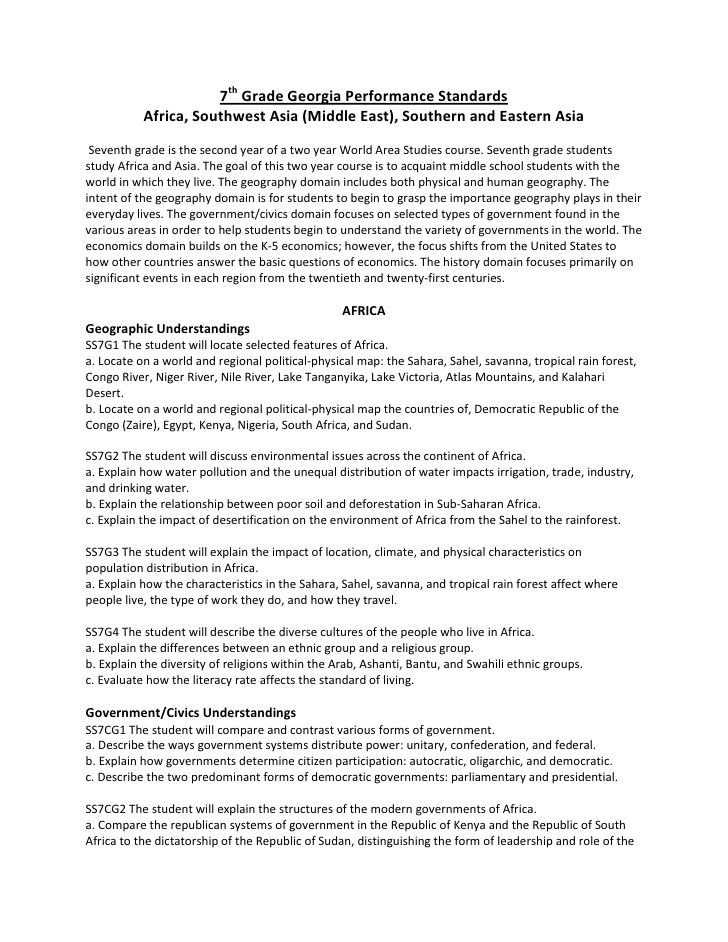 7th Grade social Studies Worksheets 7th Grade social Stu S Georgia Performance Standards