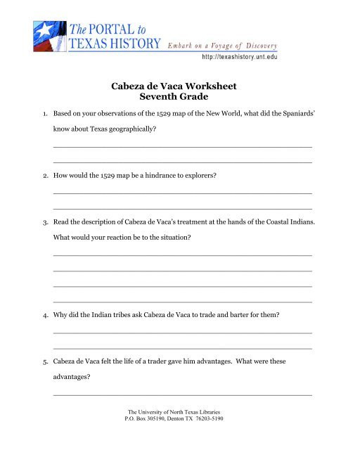 7th Grade social Studies Worksheets Cabeza De Vaca Worksheet Seventh Grade University Of north