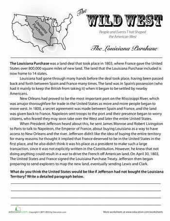 7th Grade social Studies Worksheets History Of the Louisiana Purchase