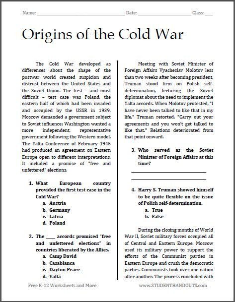 7th Grade World History Worksheets origins Of the Cold War