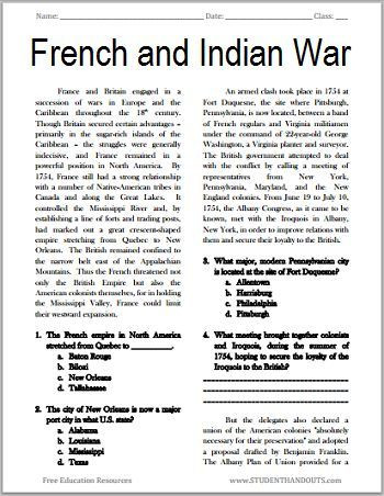 7th Grade World History Worksheets the French and Indian War Free Printable American History